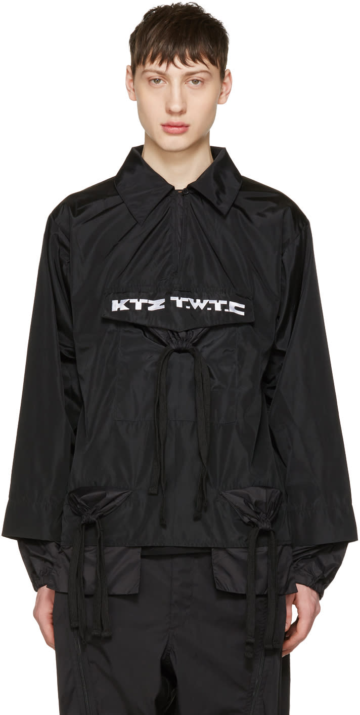 Ktz Black Gathered Pocket Shirt