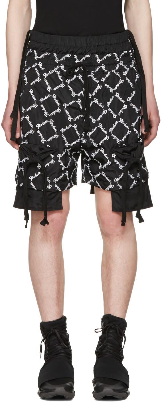 Ktz Black Gathered Pockets Shorts