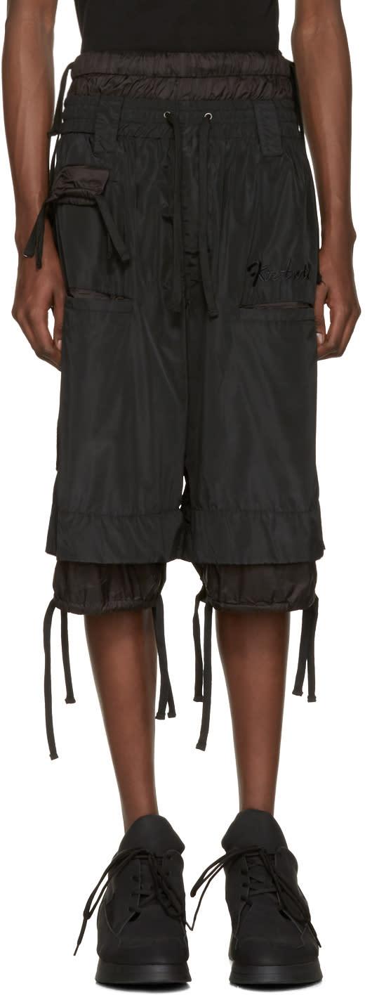 Ktz Black Embroidered Shorts