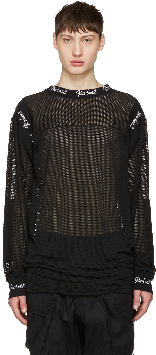 Ktz Black Embroidered Mesh Pullover