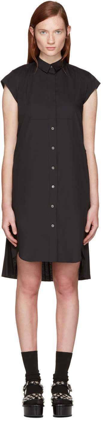 Sacai Black Classic Shirting Pleated Dress