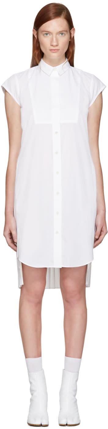 Sacai White Classic Shirting Pleated Dress