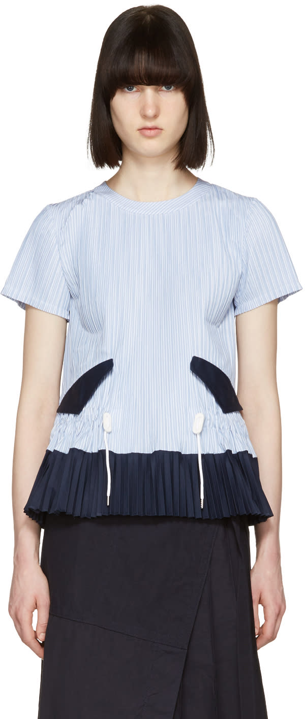 Sacai Blue Striped Pleated Shirting Blouse