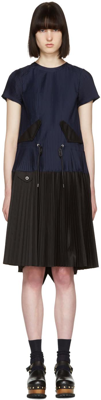 Sacai Navy Pleated Toggle Dress