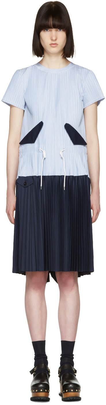 Sacai Blue Striped Pleated Toggle Dress