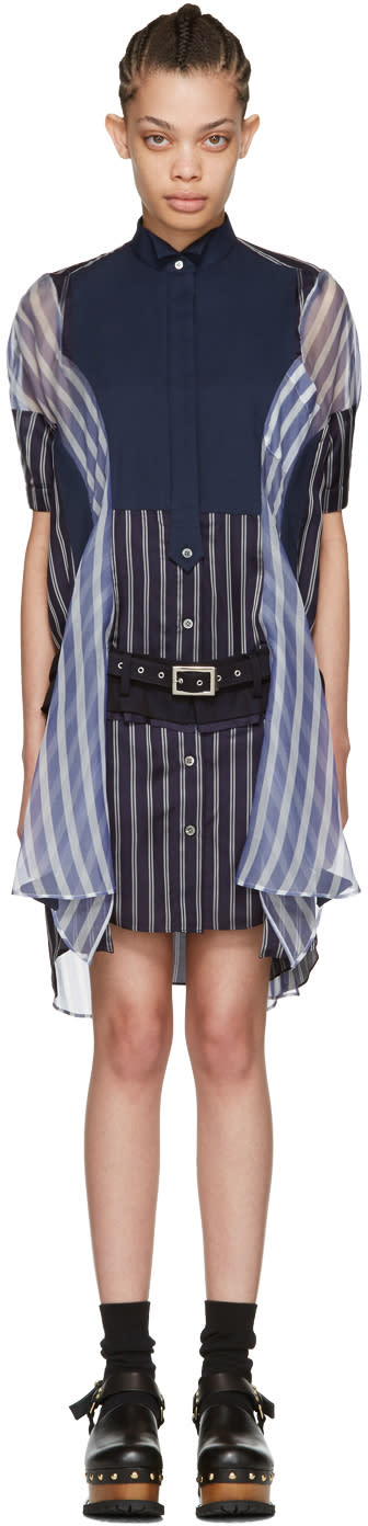 Sacai Navy Striped Shirt Dress