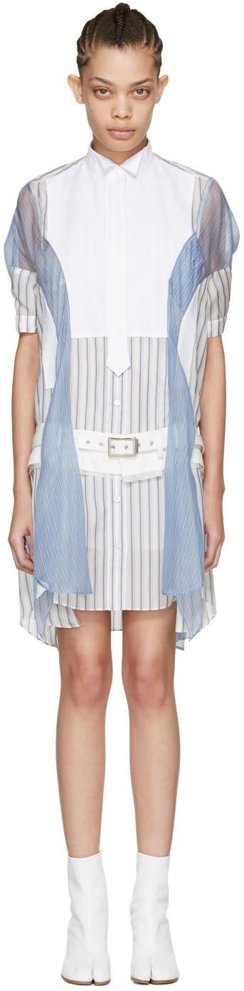 Sacai Off-white Striped Shirt Dress
