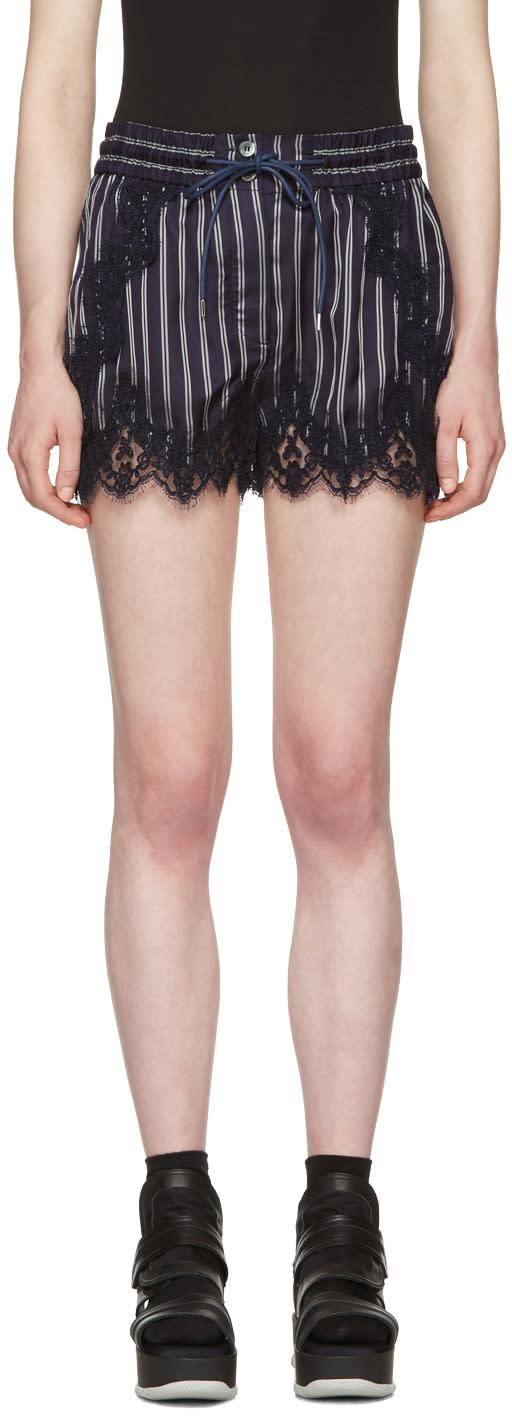 Sacai Navy Striped Lace Shorts