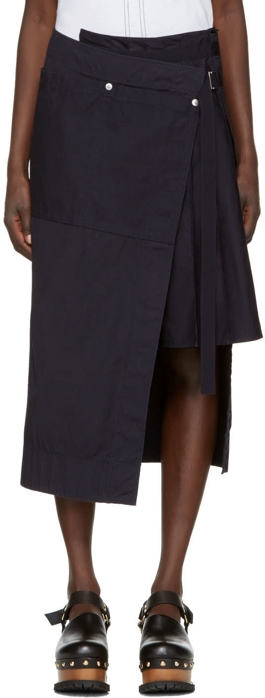 Sacai Navy Overdyed Wrap Skirt