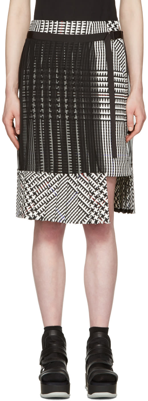 Sacai Black and White Check Pleated Skirt