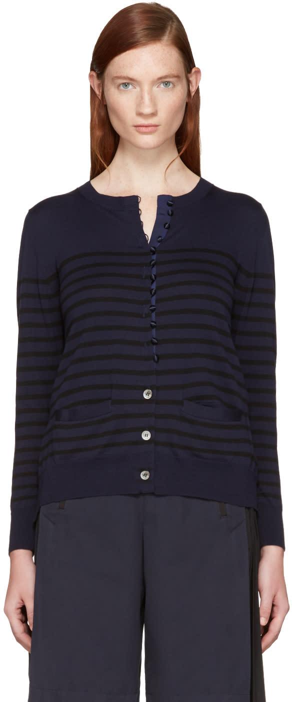 Sacai Navy Striped Knit Cardigan