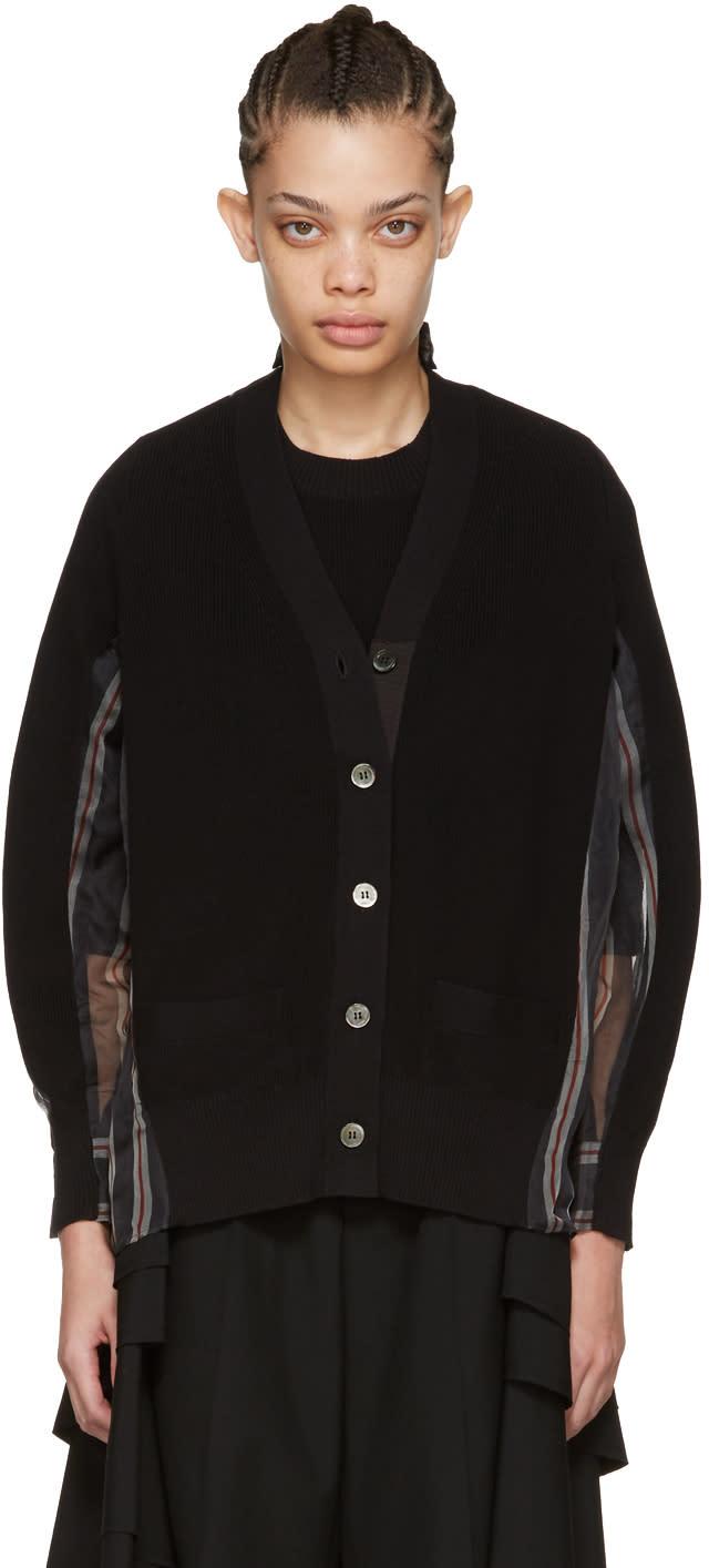 Sacai Black Organza Striped Cardigan