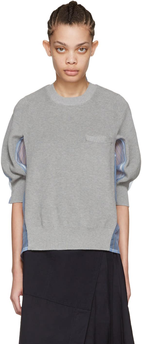 Sacai Grey Organza Striped Pullover