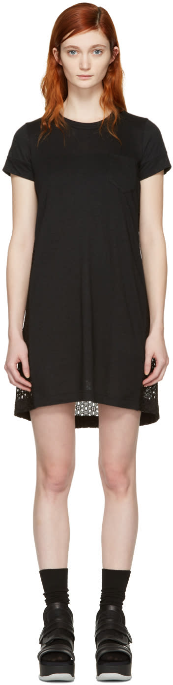 Sacai Black Dot Lace T-shirt Dress