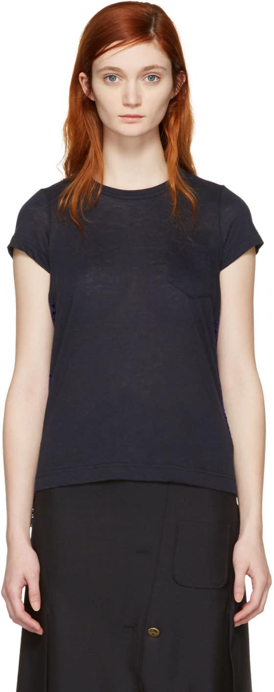 Sacai Navy Dot Lace T-shirt