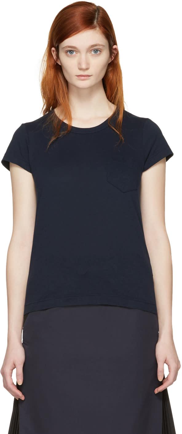 Sacai Navy Fan Back T-shirt
