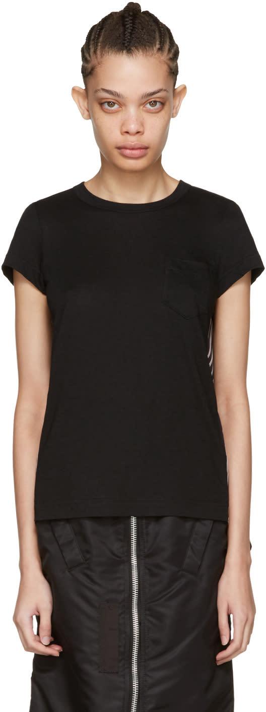Sacai Black Striped Panels T-shirt