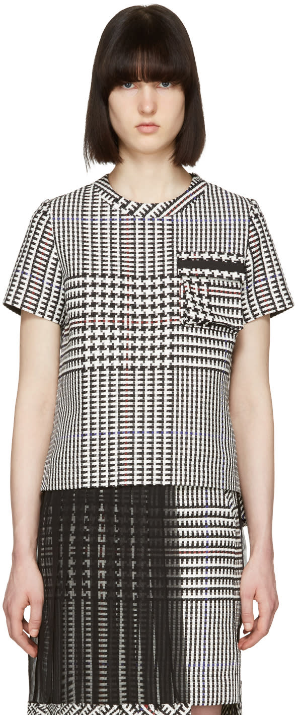 Sacai Black and White Check Pleated T-shirt