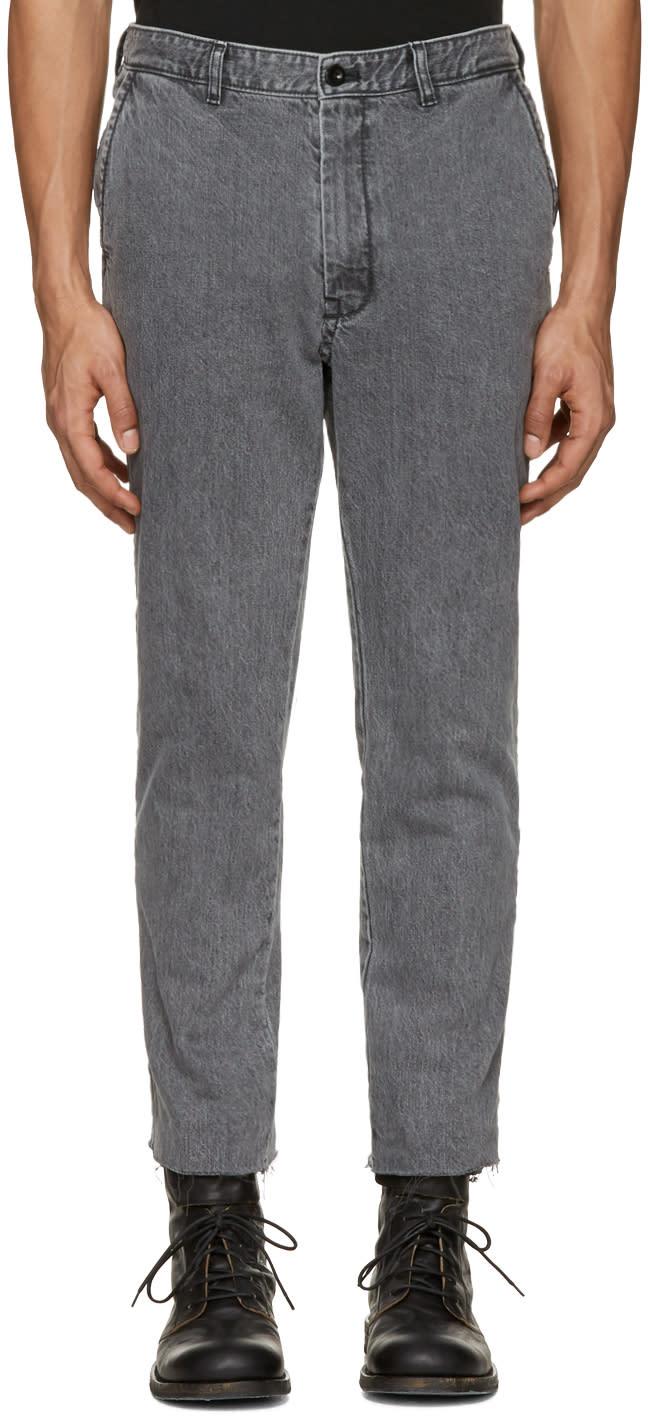 Sacai Grey Raw Edge Jeans