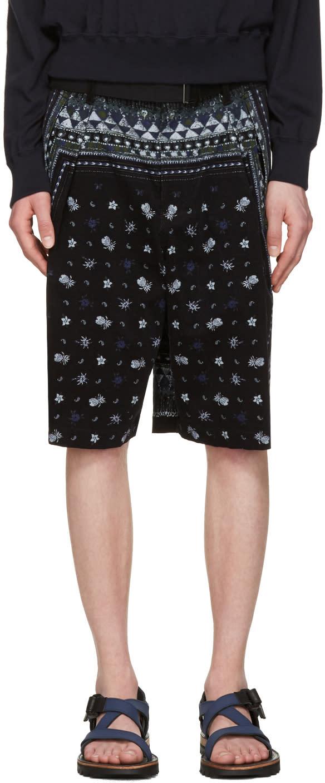 Sacai Black Aloha Scarf Print Shorts
