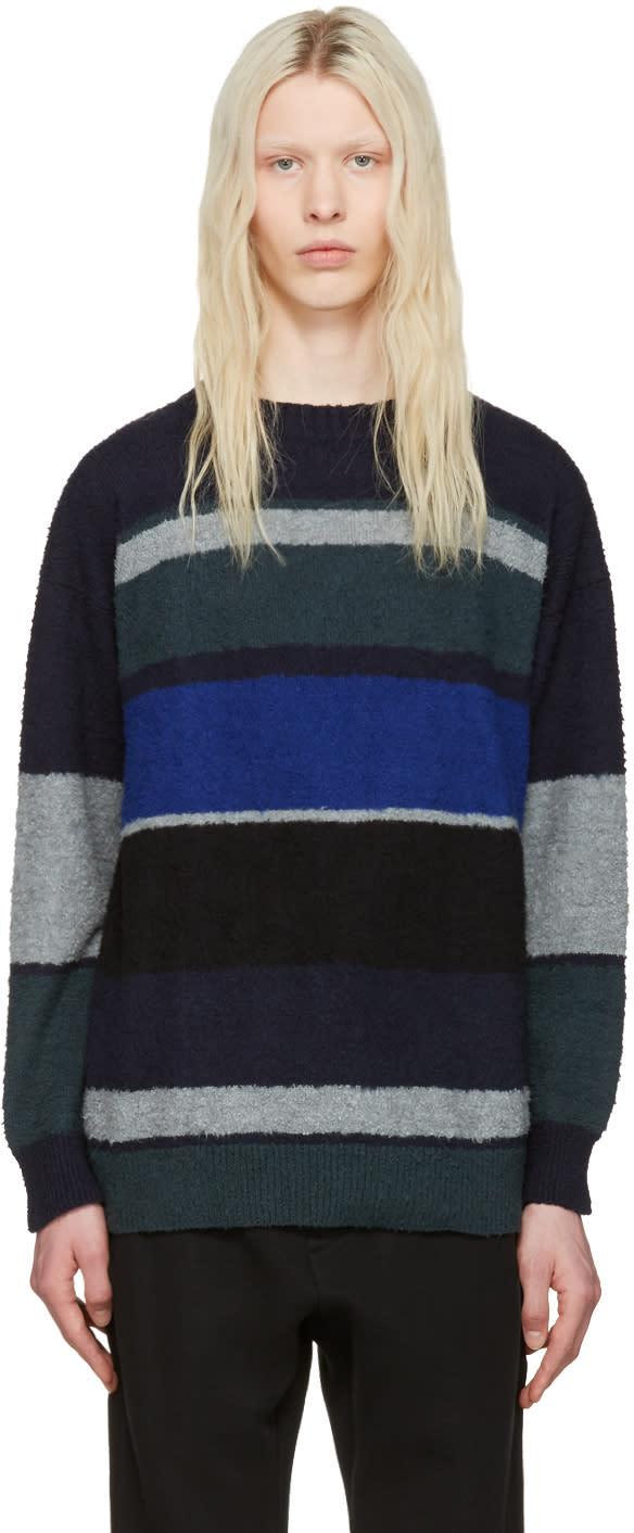 Sacai Navy and Grey Boucle Sweater