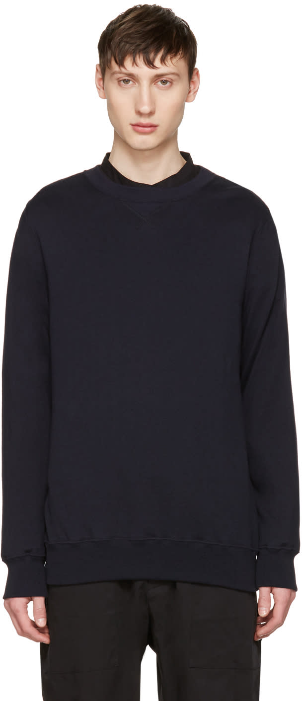 Sacai Navy Cotton and Cashmere Pullover