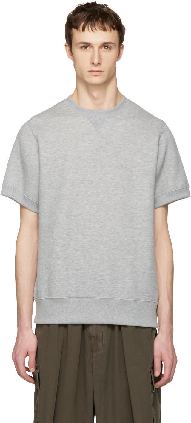 Sacai Grey Sweats Short Sleeve Pullover