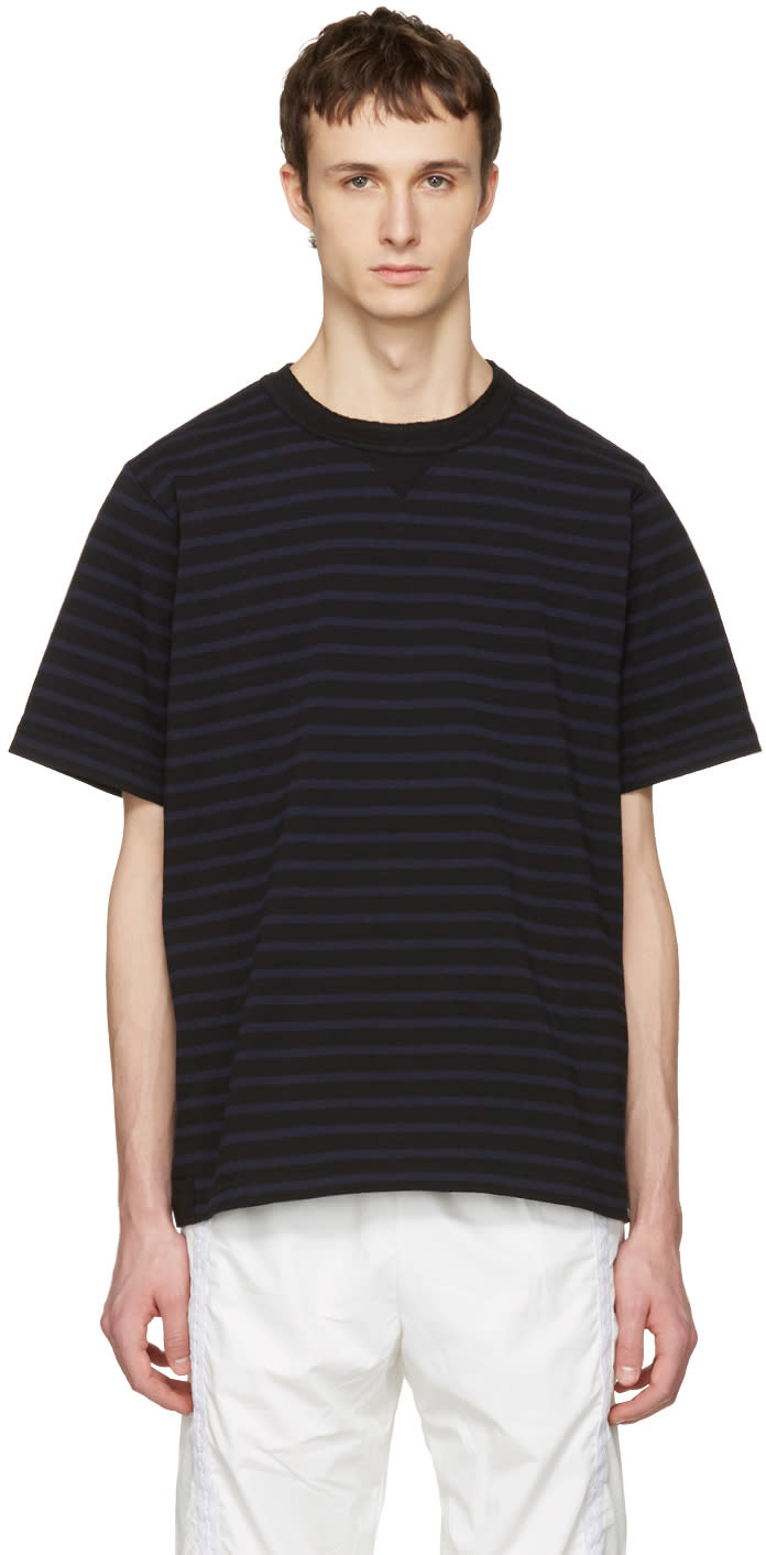 Sacai Black Striped Dixie Border T-shirt