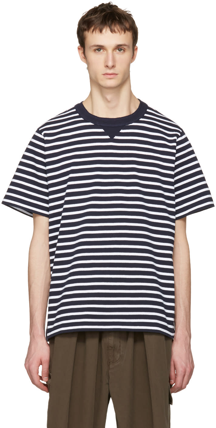 Sacai Navy Striped Dixie Border T-shirt