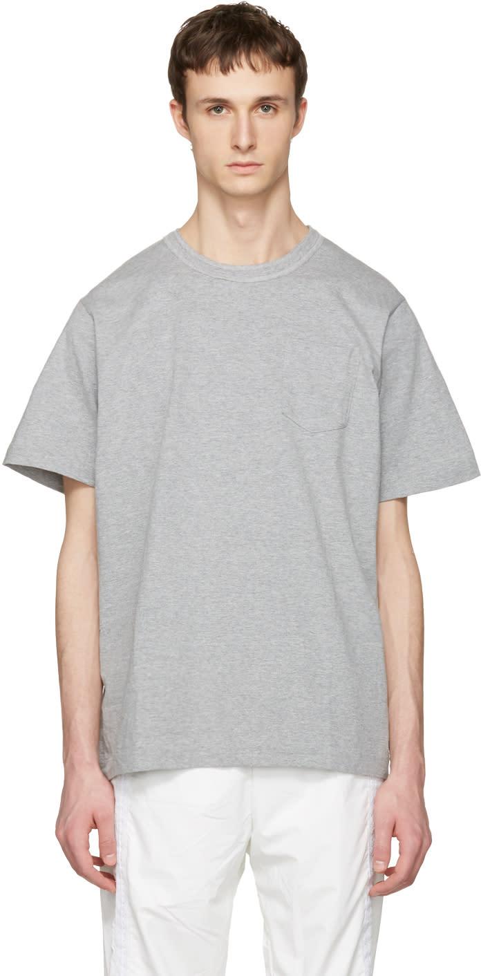 Sacai Grey Cotton T-shirt