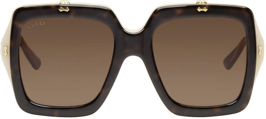 Gucci Tortoiseshell Large Square Flip-up Sunglasses