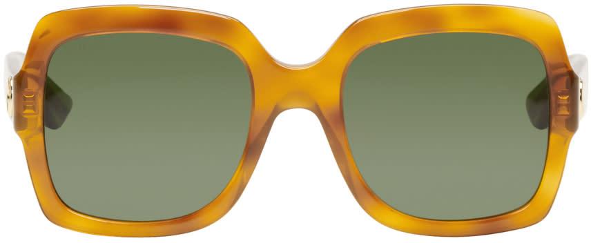 Gucci Tortoiseshell Large Square Glitter Sunglasses