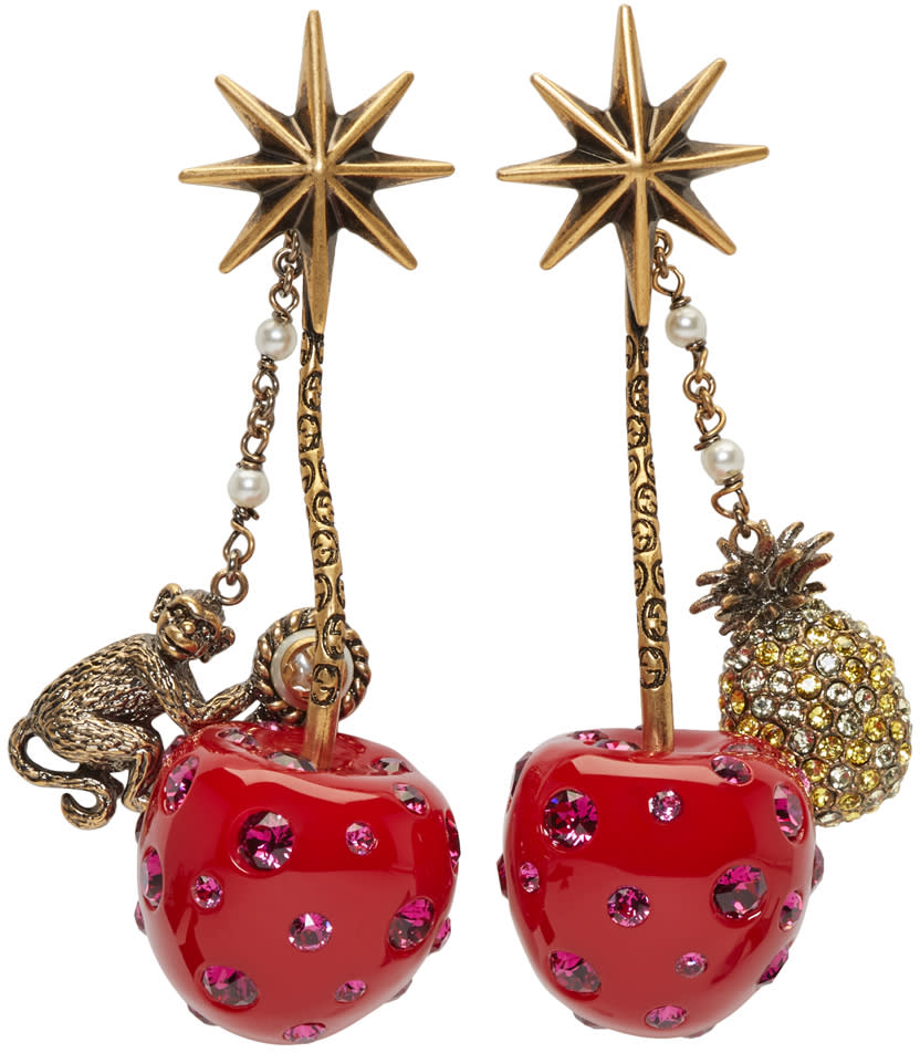 gucci female gucci red cherry earrings