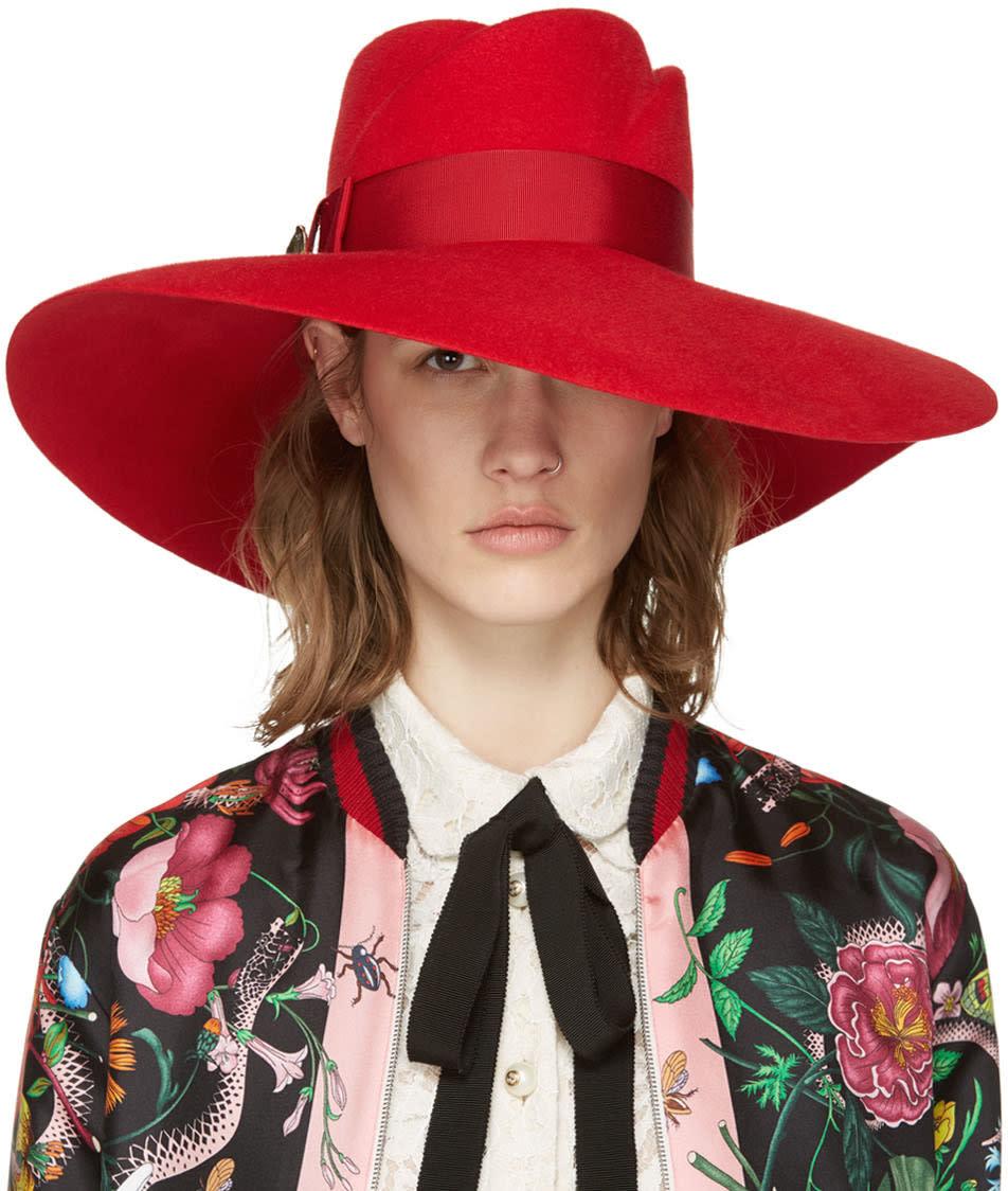 Gucci Red Anita Fedora