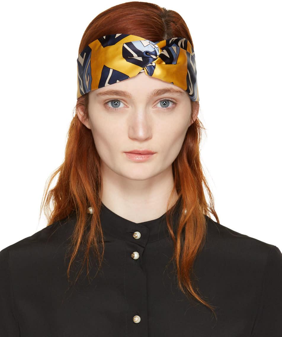 Gucci Yellow Silk Logo Cube Headband