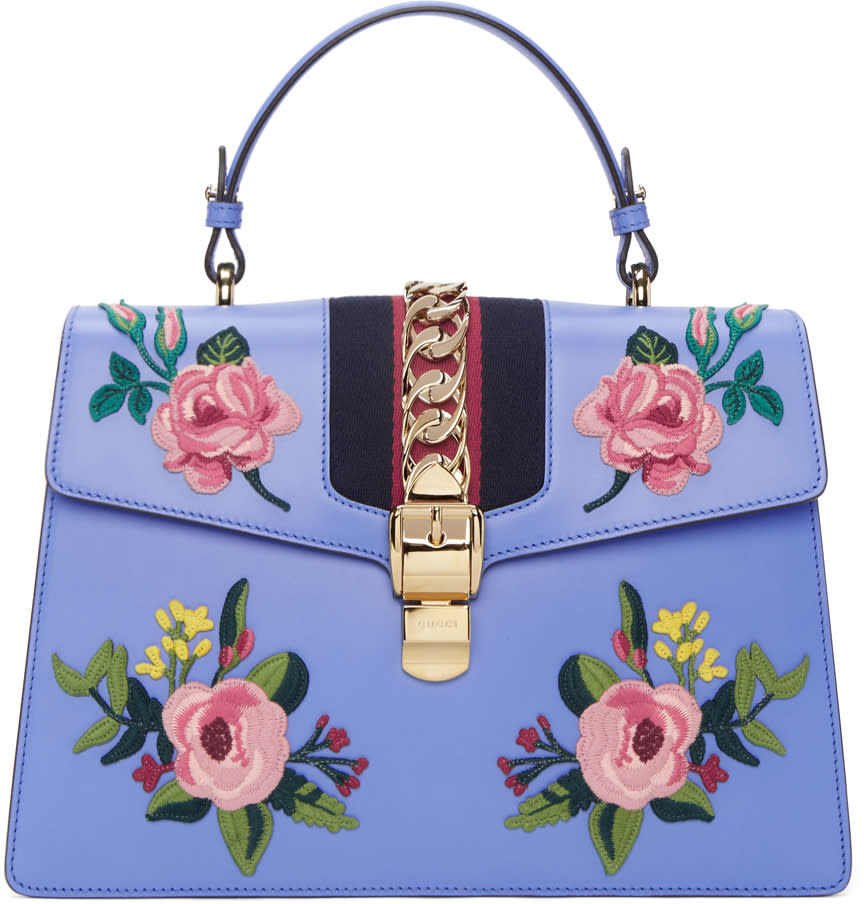 gucci female gucci blue medium sylvie bag