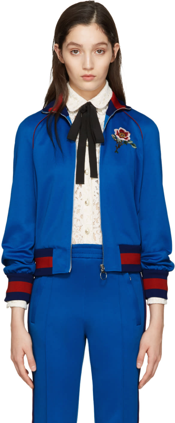 gucci female gucci blue embroidered track jacket