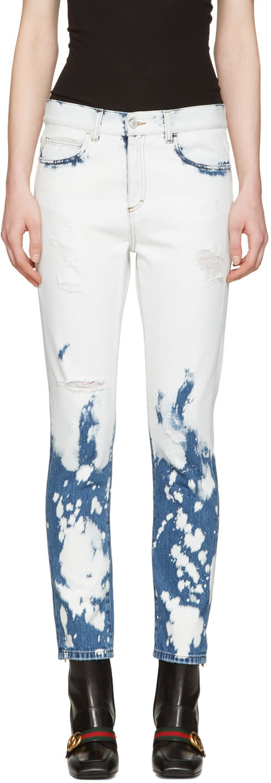 gucci female 201921 gucci blue and white chlorine wash jeans
