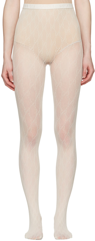 Gucci Ivory Gg Supreme Stockings