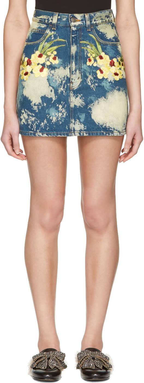 Gucci Blue Denim Flower Patch Miniskirt