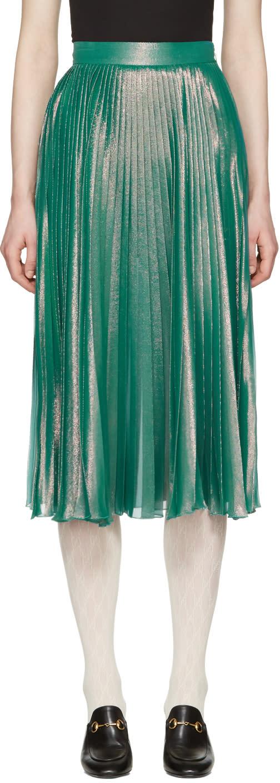 Gucci Green Lurex Plisse Skirt