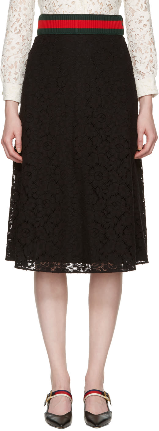 gucci female gucci black cluny lace skirt