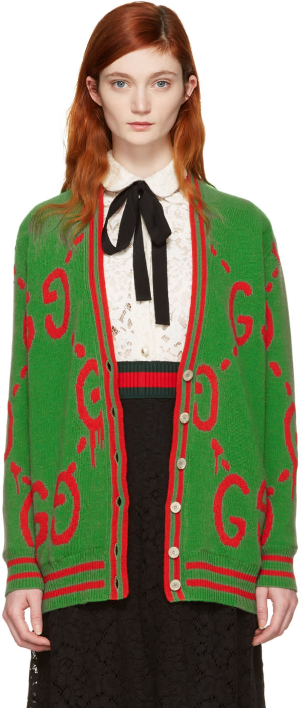 gucci female gucci green oversized guccighost cardigan