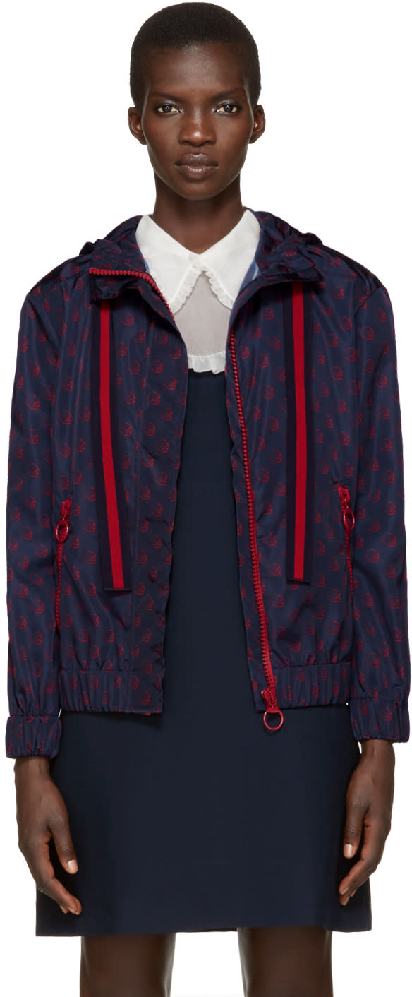 Gucci Navy Nylon Guccighost Jacket