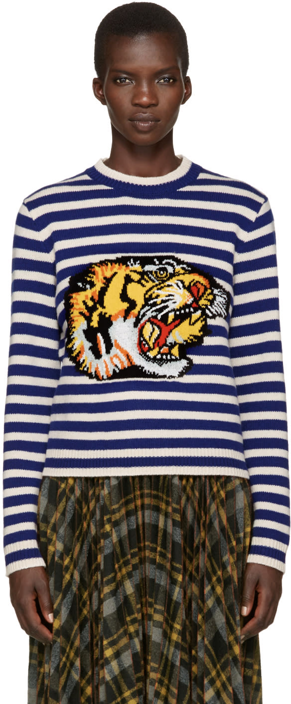 Gucci Blue and White Striped Tiger Sweater