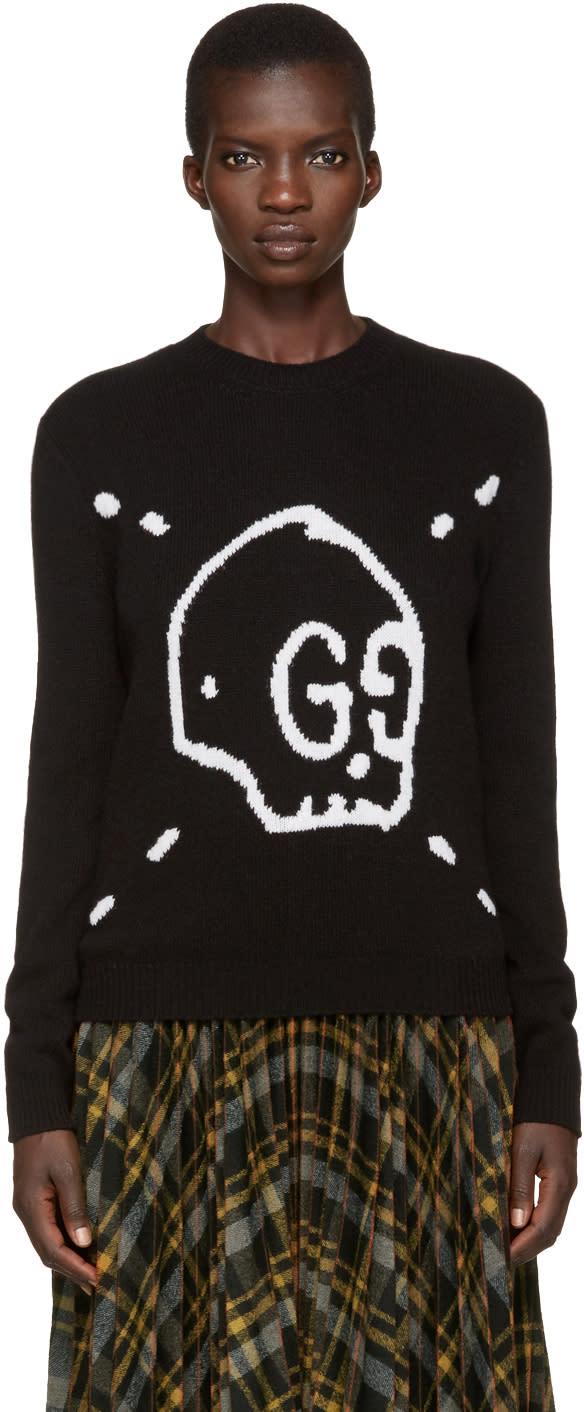 gucci female 188971 gucci black guccighost knit sweater
