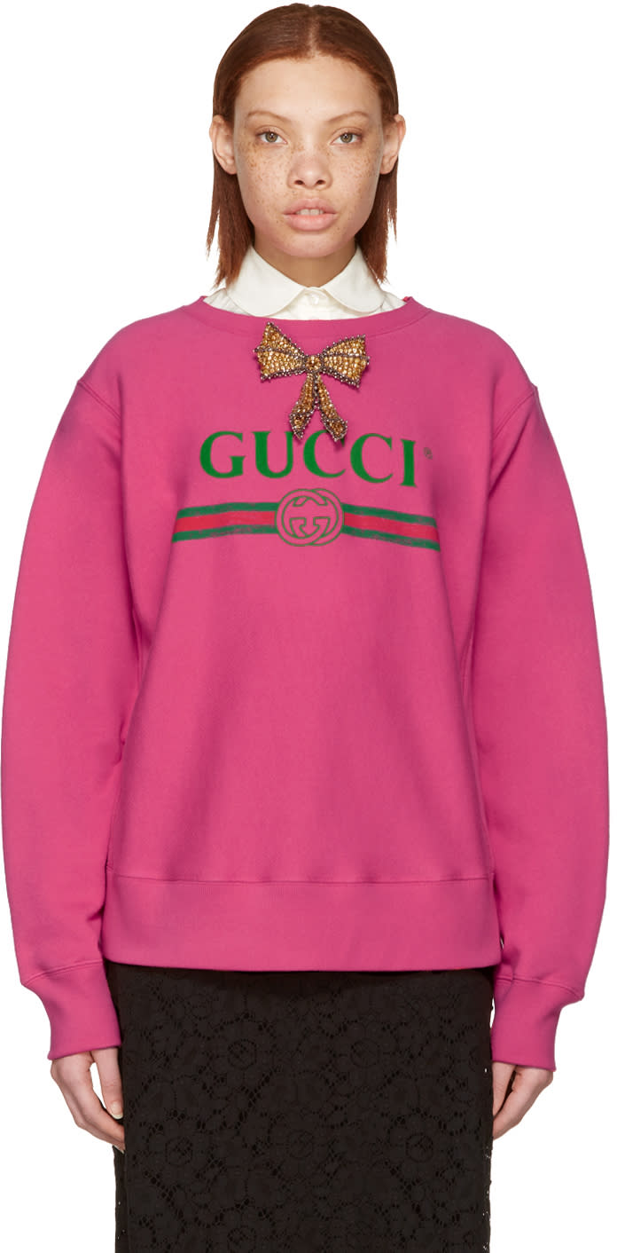 Gucci Pink Bow Logo Pullover