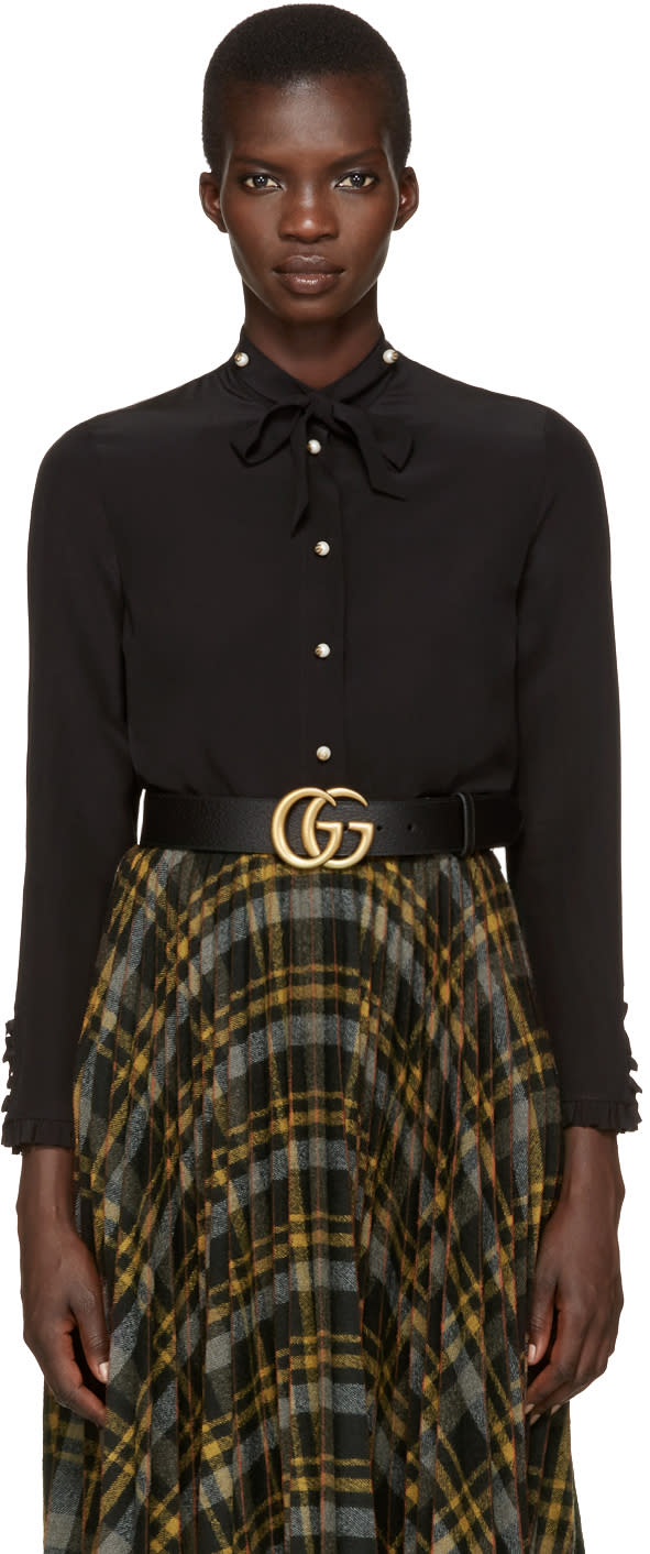 gucci female 188971 gucci black silk flounce shirt