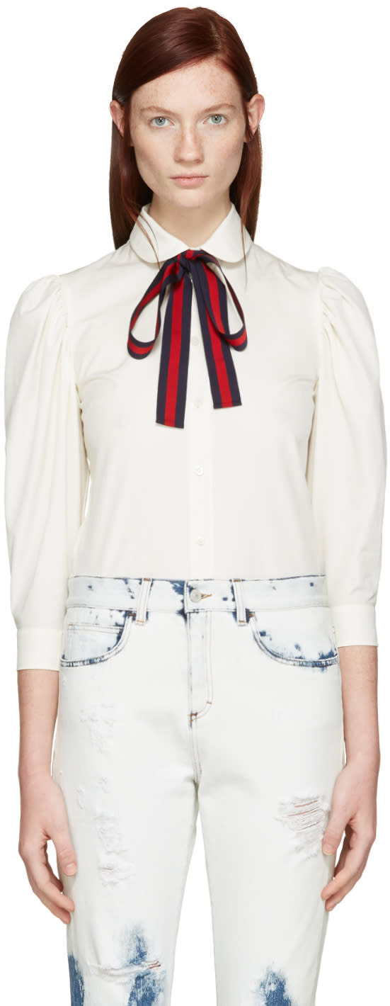 gucci female gucci ivory ribbon shirt