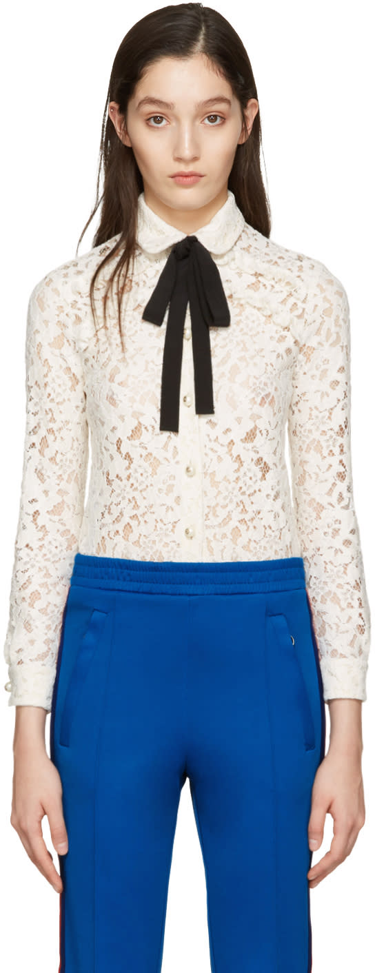 gucci female gucci ivory lace bow collar shirt
